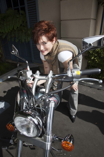 Carolyn Hennesy (True Blood and General Hospital) signs bike