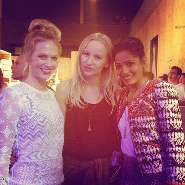 January Jones and Freida Pinto with a Russian Glamour editor