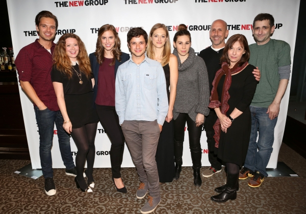 The Company: (L to R) Sebastian Stan, Natasha Lyonne, Allison Williams, Raviv Ullman, Marin Ireland, Zosia Mamet, Director Scott Elliott, Playwright Beth Henley, and Jonathan Marc Sherman