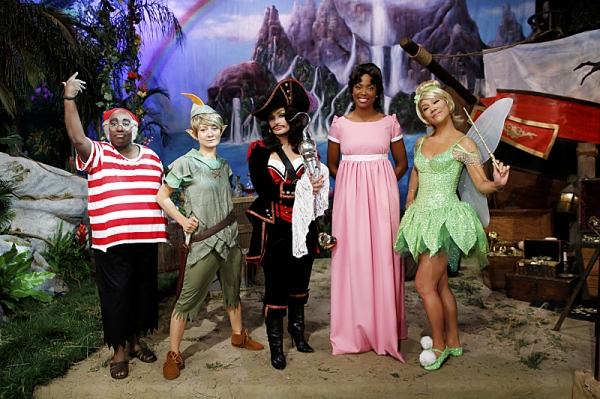 The ladies of The Talk dress in costume to the theme of Peter Pan on the Halloween episode on Thursday, Oct. 31, 2013 for the CBS Television Network. Sheryl Underwood as Mr. Smee, from left, Sara Gilbert as Peter Pan, Sharon Osbourne as Captain Hook, Aish