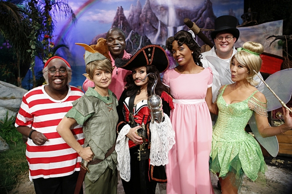 Reno Wilson and Bill Gardell of Mike & Molly visit the ladies of The Talk on the Halloween episode on Thursday, Oct. 31, 2013 for the CBS Television Network. Sheryl Underwood as Mr. Smee, from left, Sara Gilbert as Peter Pan, Reno Wilson as Michael Darlin