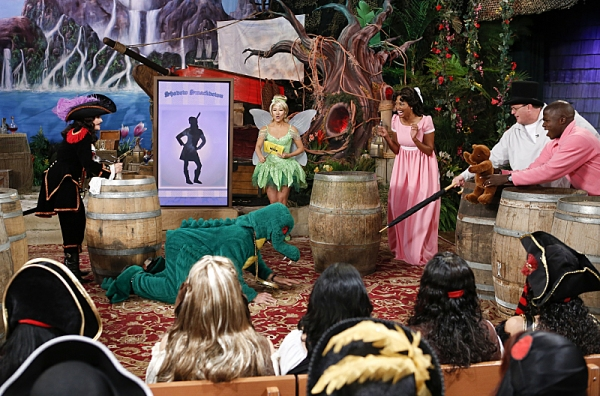 Michael Weatherly, Reno Wilson and Bill Gardell play a game with the ladies of The Talk on the Halloween episode on Thursday, Oct. 31, 2013 for the CBS Television Network. Sharon Osbourne as Captain Hook, from left, Michael Weatherly as the crocodile, Jul