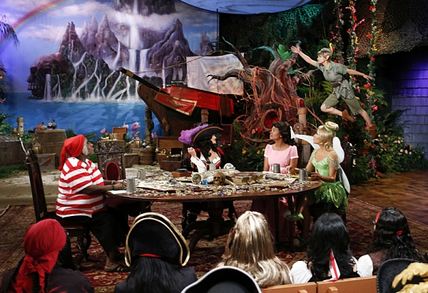 The ladies of The Talk dress in costume to the theme of Peter Pan on the Halloween episode on Thursday, Oct. 31, 2013 for the CBS Television Network. Sheryl Underwood as Mr. Smee, left, Sharon Osbourne as Captain Hook, Aisha Tyler as Wendy, Julie Chen as