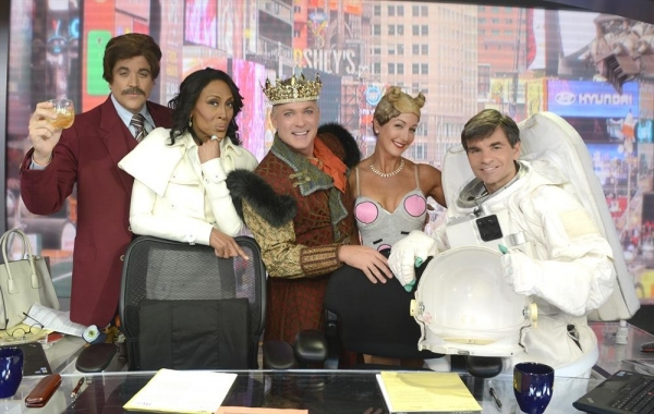 GOOD MORNING AMERICA - Coverage of GOOD MORNING AMERICA''s Halloween Show featuring the ''Buzzy Awards,'' 10/31/13, airing on the ABC Television Network.   (ABC/Ida Mae Astute)JOSH ELLIOTT, ROBIN ROBERTS, SAM CHAMPION, LARA SPENCER, GEORGE STEPHANOPOULOS