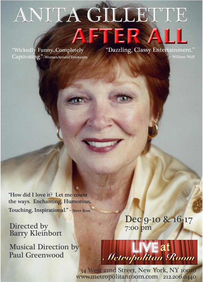 Anita Gillette Set For Metropolitan Room 12/9-10 & 12/16-17