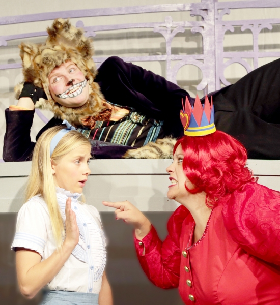 Rachel Forney as Alice, Jay Jacobson as Cheshire Cat, and Deb Paul as Queen of Heart Photo