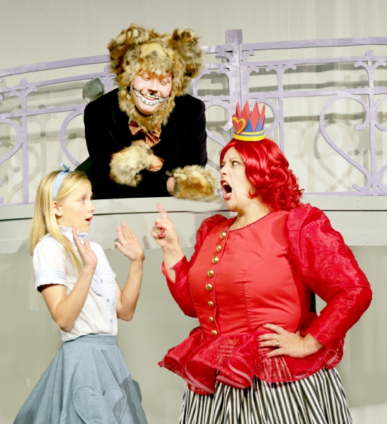 Rachel Forney as Alice, Jay Jacobson as Cheshire Cat, and Deb Paul as Queen of Hearts Photo