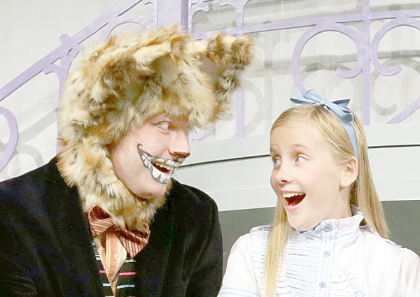 Jay Jacobson as Cheshire Cat and Rachel Forney as Alice Photo