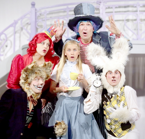 Jay Jacobson as Cheshire Cat, Deb Paul as Queen of Hearts, Rachel Forney as Alice, Larry Mahlstedt as Mad Hatter, and James Kolnik as White Rabbit