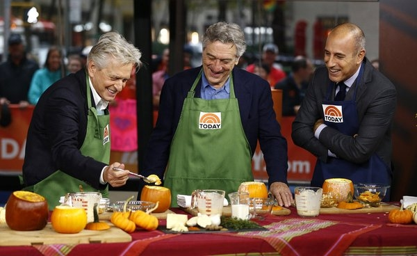 TODAY -- Pictured: (l-r) Michael Douglas, Robert De Niro and Matt Lauer appear on NBC News'' ''Today'' show -- (Photo by: Peter Kramer/NBC)