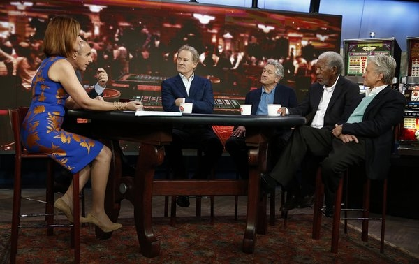 TODAY -- Pictured: (l-r) Savannah Guthrie, Matt Lauer, Kevin Kline, Robert De Niro, Morgan Freeman and Michael Douglas appear on NBC News'' ''Today'' show -- (Photo by: Peter Kramer/NBC)
