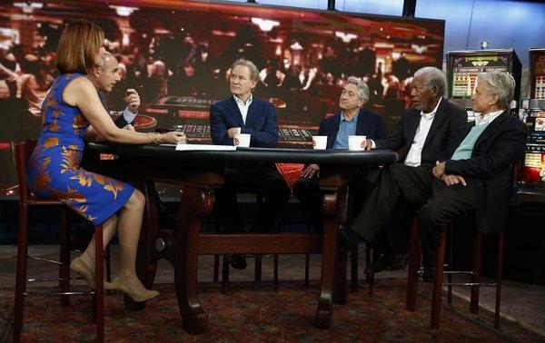 TODAY -- Pictured: (l-r) Savannah Guthrie, Matt Lauer, Kevin Kline, Robert De Niro, Morgan Freeman and Michael Douglas appear on NBC News'' ''Today'' show -- (Photo by: Peter Kramer/NBC)