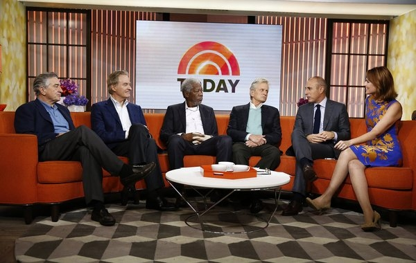 TODAY -- Pictured: (l-r) Robert De Niro, Kevin Kline, Morgan Freeman, Michael Douglas, Matt Lauer and Savannah Guthrie appear on NBC News'' ''Today'' show -- (Photo by: Peter Kramer/NBC)