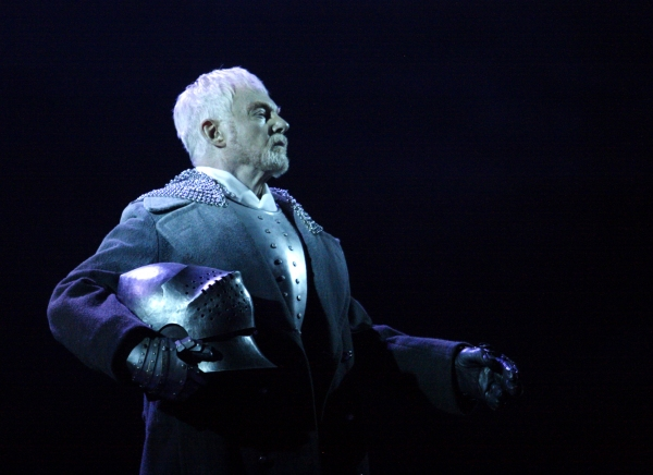 SIR DEREK JACOBI as the Ghost in Hamlet (he played Laertes in the NT's opening production of Hamlet in 1963)