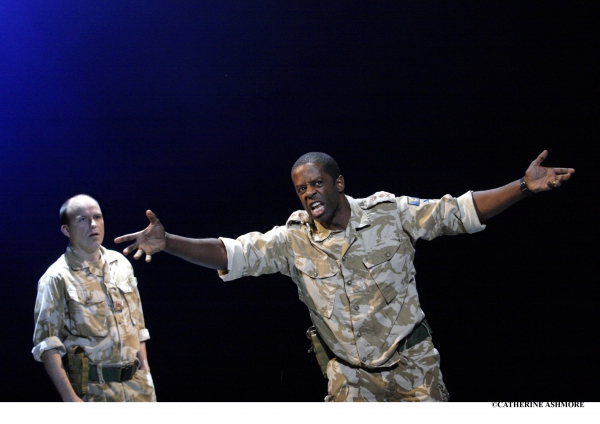 RORY KINNEAR as Iago and ADRIAN LESTER as Othello (roles they played at the NT earlier this year)