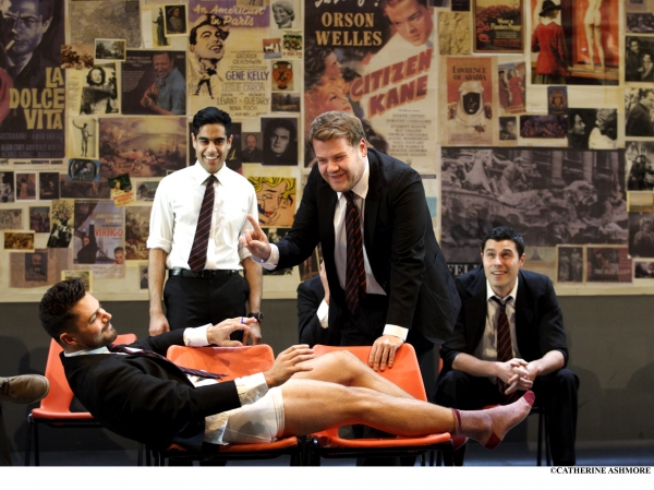 (left to right) DOMINIC COOPER, SACHA DHAWAN, JAMES CORDEN and PHILIP CORREIA in The History Boys by Alan Bennett (recreating their roles in the play which premiered at the NT in 2004)