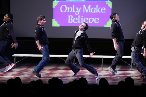 David Josefsberg, Rob McClure and the cast of ''Honeymoon in Vegas''  performing at the 14th Annual ''Only Make Believe'' Gala at the Bernard B. Jacobs Theatre on November 4, 2013  in New York City.