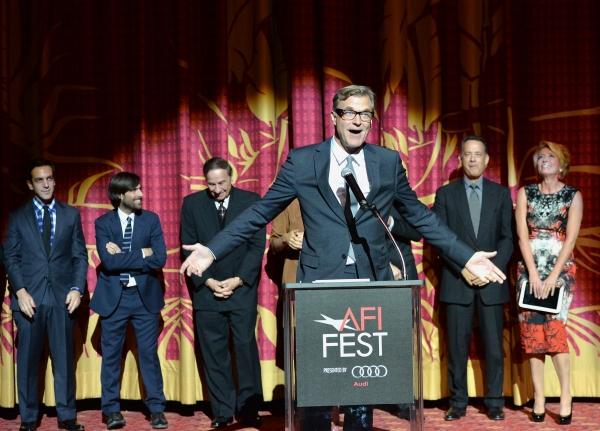B.J. Novak, Jason Schwartzman, Richard Sherman, John Lee Hancock, Tom Hanks and Emma Thompson