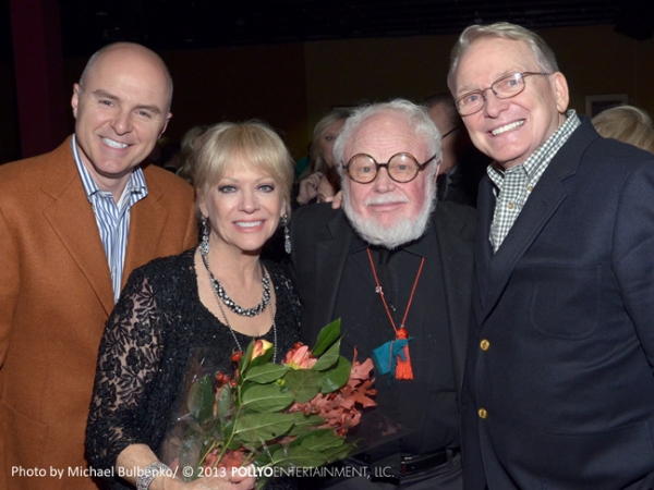 Fashion icon Bob Mackie and costume designer Ret Turner congratulate vocal group The Four King Cousins, stars of TV''s The King Family Show, following their first concert appearance in three decades at The Catalina Jazz Club in Hollywood, CA on November 6