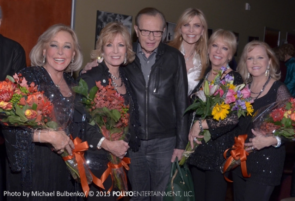 Celebrity guests Larry King and wife Shawn King congratulate vocal group The Four King Cousins, stars of TV''s The King Family Show, following their first concert appearance in three decades at The Catalina Jazz Club in Hollywood, CA on November 6, 2013.
