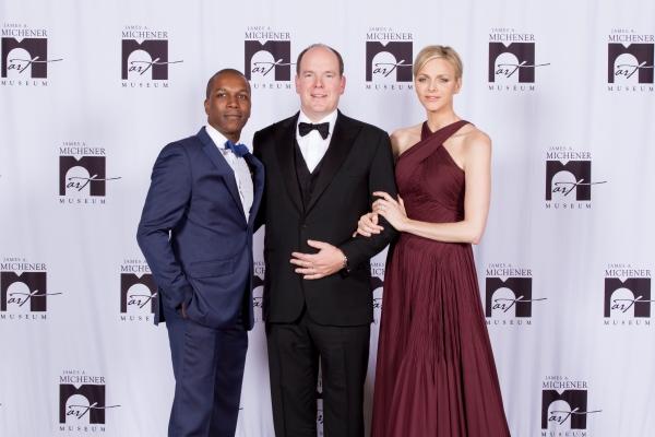 Leslie Odom Jr., HSH Prince Albert II of Monaco and HSH Princess Charlene of Monaco Photo