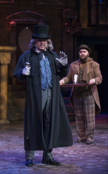 Larry Adams (Scrooge) and Matthias Austin (Bob Cratchit)