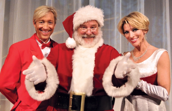 Co-hosts Kenny Shepard (left) and Deb Wims (right), together with Santa