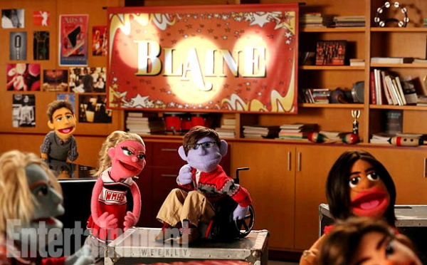GLEE: L-R: ''Sam'', ''Will'', ''Kitty'', ''Artie'', ''Unique'' and ''Tina'' puppets perform in the ''Puppet Master'' episode of GLEE airing Thursday, Nov. 28 (9:00-10:00 PM ET/PT) on FOX. ©2013 Fox Broadcasting Co. CR: Adam Rose/FOX