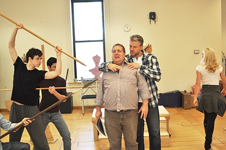 Nick Flatto as Protean, Matthew Bauman as Protean, Bruce Dow as Pseudolus and Edward Watts as Miles Gloriosus