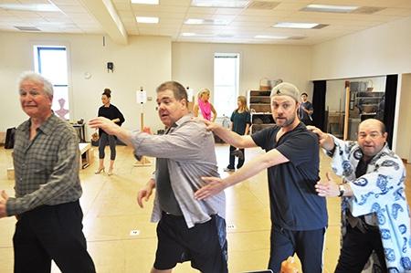 Steve Vinovich as Senex, Bruce Dow as Pseudolus, Tom Story as Hysterium and Danny Rut Photo