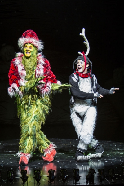 Steve Blanchard as The Grinch and Jeffrey Schecter as Young Max
