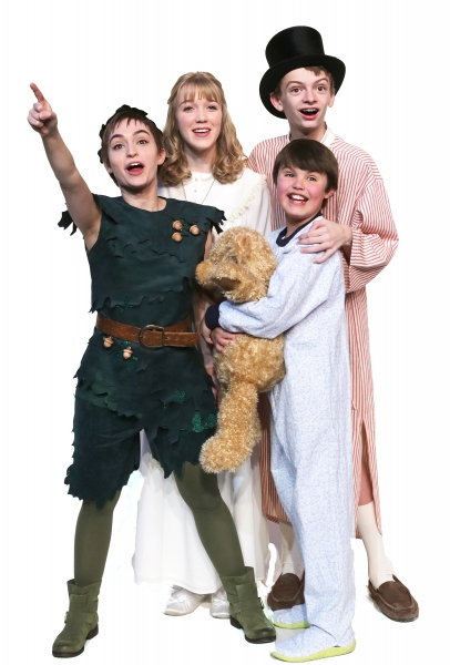 (Clockwise from lower left) Samantha Arneson as Peter Pan, Meredith Toebben as Wendy, Jones Pfeifer as John, and Noah Hackbart as Michael