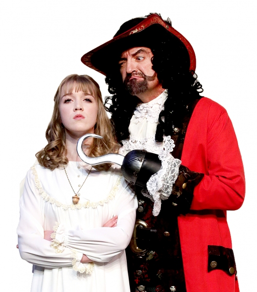 Meredith Toebben as Wendy and Maxwell Schaeffer as Captain Hook