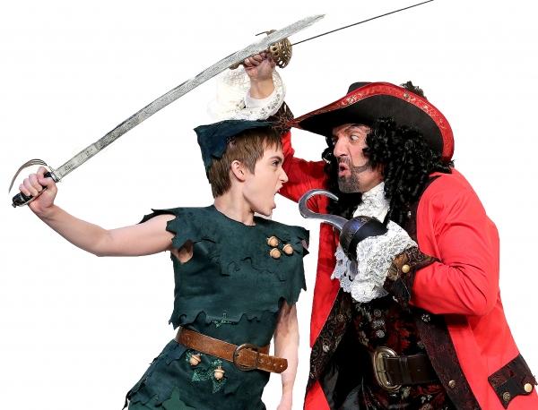 Samantha Arneson as Peter Pan and Maxwell Schaeffer as Captain Hook