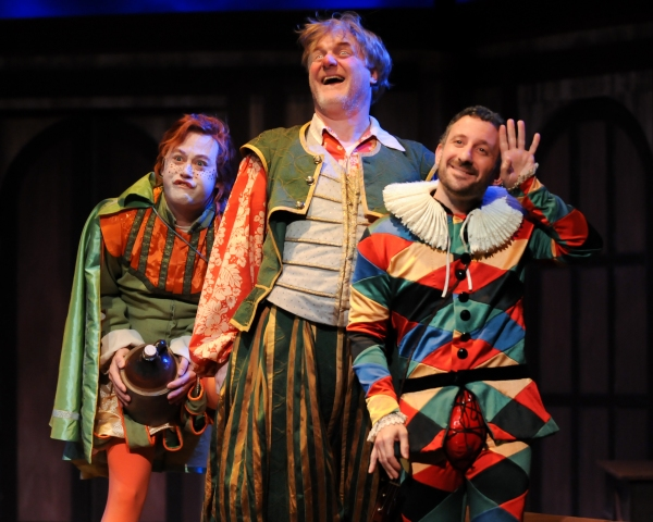 Justin McCombs as Sir Andrew, Jim Hopkins as Sit Toby and Jeremy Dubin as Feste