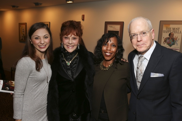 From left, cast member Hannah Vassallo, Glorya Kaufman, Renae Williams Niles, Music Center, and CTG Producing Director Douglas C. Baker pose during the reception for the opening night performance of ''Matthew Bourne''s Sleeping Beauty'' at the Center Thea