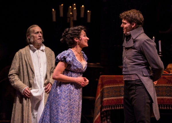 Larry Yando (Scrooge), Robert Hope (Young Scrooge) and Atra Asdou (Belle) Photo