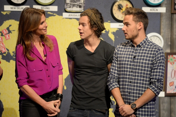 PLAYA VISTA, CA - NOVEMBER 23:  (L-R) Cindy Crawford, Harry Styles, and  Liam Payne on set during One Direction celebrates 1D Day at YouTube Space LA, a 7-hour livestream event broadcast exclusively on YouTube and Google+. Featuring behind the scenes foot