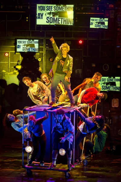 Andrew Humann and the company of AMERICAN IDIOT
