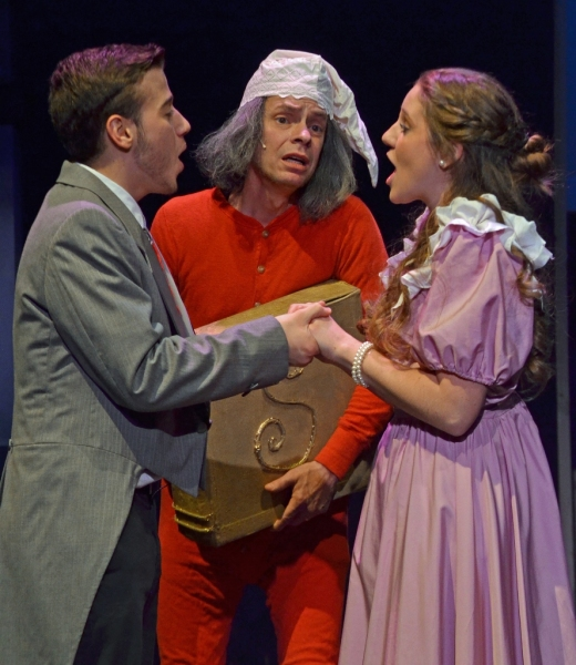 Jared Cowley as ''Young Ebenezer'', Osborn Focht as ''Ebenezer Scrooge,'' and Nikki M Photo