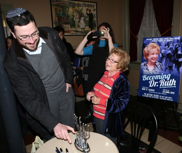 Dr. Ruth K. Westheimer hosts a special ''Becoming Dr. Ruth'' book signing session on the first day of Hanukkah at off-Broadway�'•s Westside Theatre on November 27, 2013 in New York City.
