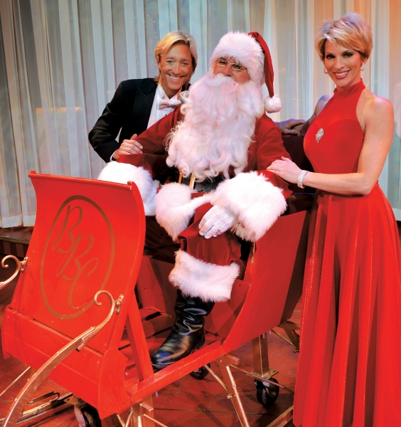 Santa joins co-hosts Kenny Shepard (left) and Deb Wims (right)