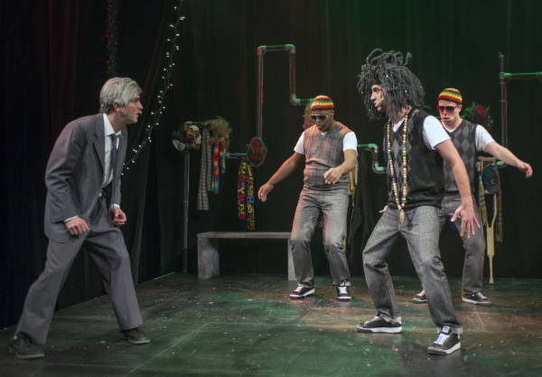 Ebenezer Scrooge (GQ) is haunted by the Rastafarian beats of Jacob Marley (JQ)�no relation to Bob�and his crew of reggae spirits (left to right, Postell Pringle and Jackson Doran).
