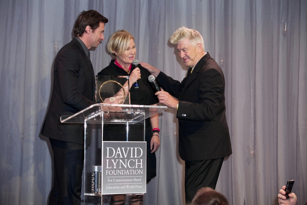 Hugh Jackman, Deborra-Lee Furness and David Lynch