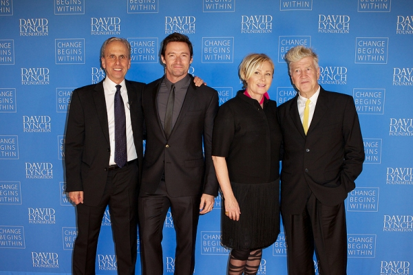 David Lynch Foundation Exec Director Bob Roth, Hugh Jackman, Deborra-Lee Furness and David Lynch