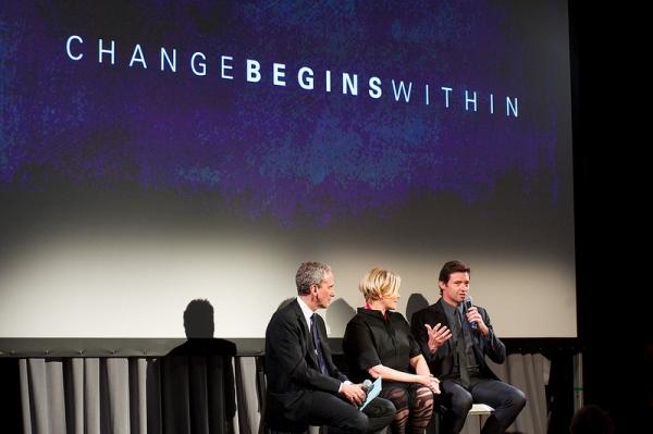 David Lynch Foundation Exec Director Bob Roth, Deborra-Lee Furness and Hugh Jackman