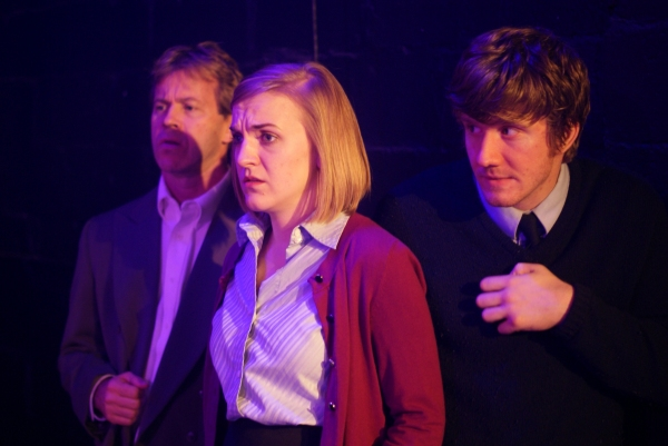 Stephen Woosley as Mr. Rondo, left to right, Colleen Dunne as Ms. Ricki, Casey May as Mr. Albert