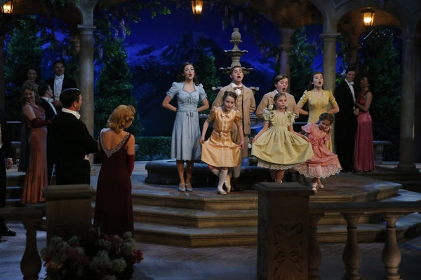 Ariane Rinehart as Liesl, Michael Nigro as Friedrich, Joe West as Kurt, Ella Watts-Gorman as Louisa; (front, l-r) Sophia Grace Caruso as Brigitta, Grace Rundhaug as Marta, Peyton Ella as Gretl