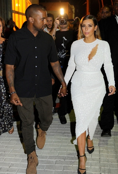 Kanye West and Kim Kardashian at DuJour Magazine''s Party during Miami''s Art Basel
