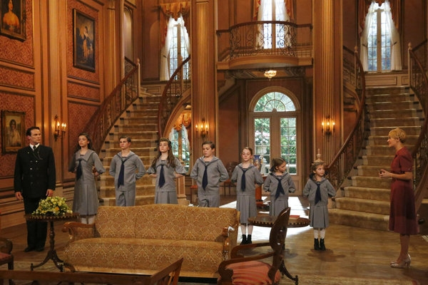 THE SOUND OF MUSIC LIVE! -- Pictured: (l-r) Stephen Moyer as Captain Von Trapp, Ariane Rinehart as Liesl, Michael Nigro as Friedrich, Ella Watts-Gorman as Louisa, Joe West as Kurt, Sophia Ann Caruso as Brigitta, Grace Rundhaug as Marta, Peyton Ella as Gre